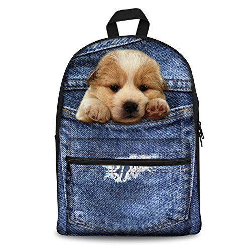 - Coloranimal Cute Pet Puppy Dog Pattern Girls Bookbags Stylish Blue Denim Printed Kids Canvas Backpack