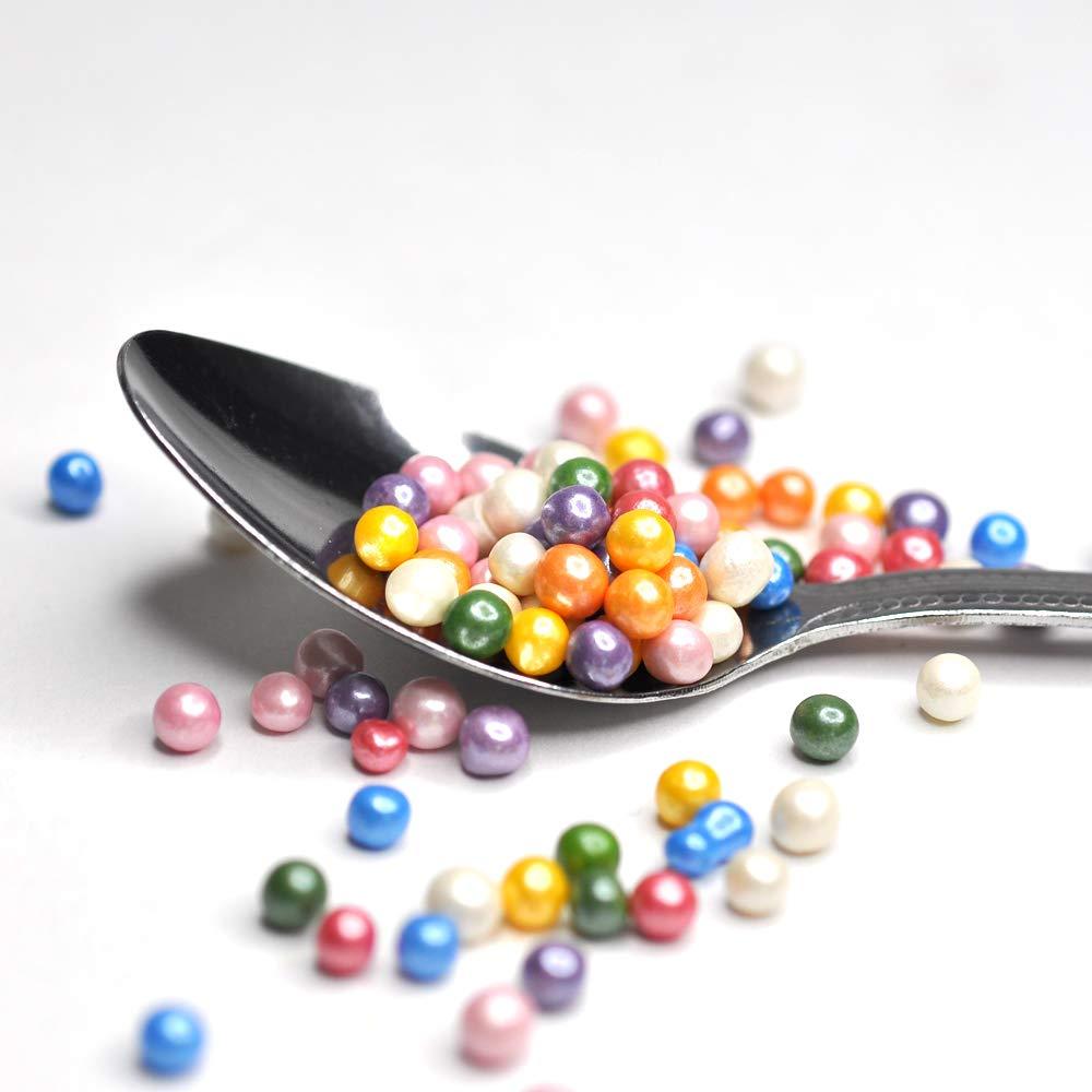 Rainbow 4mm Pearls Sprinkles Vegan Gluten Free Cake Sprinkle Mix 60g / 2.1oz for Rainbow Cupcakes Birthday Party