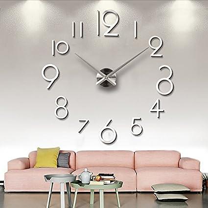 Aemember Ver el tamaño Eva vinilos Decorativos DIY 3D Espejo de Pared Reloj Relojes de Silencio