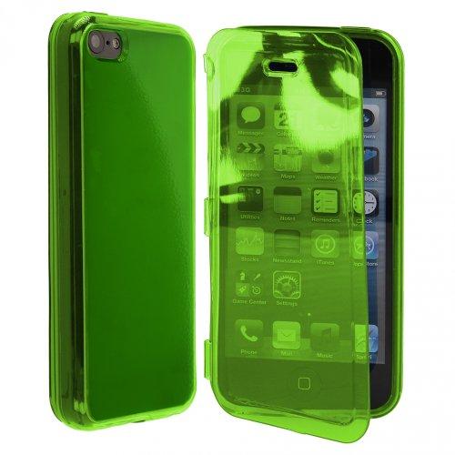 Ultra Jelly Case Gummihülle Hülle mit Klappe für Display für Apple iPhone 5C / 5 C, Grün, leicht Transparent, Durchsichtig, Silikonhülle, Schutzhülle, Handyhülle, Schale, Etui, Buchtasche, Buchhülle,