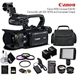 Canon XA15 Compact Full HD Camcorder 2217C002 With 64GB Memory Card, Extra Battery and Charger, UV Filter, LED Light, Case, Telephoto Lens, Wide Angle Lens, and More - Advanced Bundle