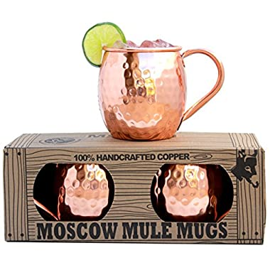 100% Solid Copper Moscow Mule Mugs (No Nickel Interior) Highest Quality - EACH HANDCRAFTED MUG WEIGHS OVER 1/2 POUND - Gift Box Set of 2, Hammered Finish, 16oz Capacity - by Morken