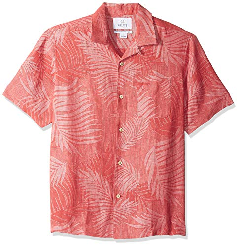- 28 Palms Men's Relaxed-Fit Silk/Linen Tropical Leaves Jacquard Shirt, Nantucket Red, X-Large