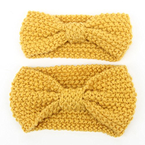 DANMY Women and Baby Knitted Bow Headband Crochet Winter Elastic Hair Band (Yellow)
