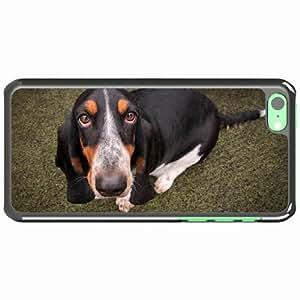 iPhone 5C Black Hardshell Case basset dog friend look Desin Images Protector Back Cover