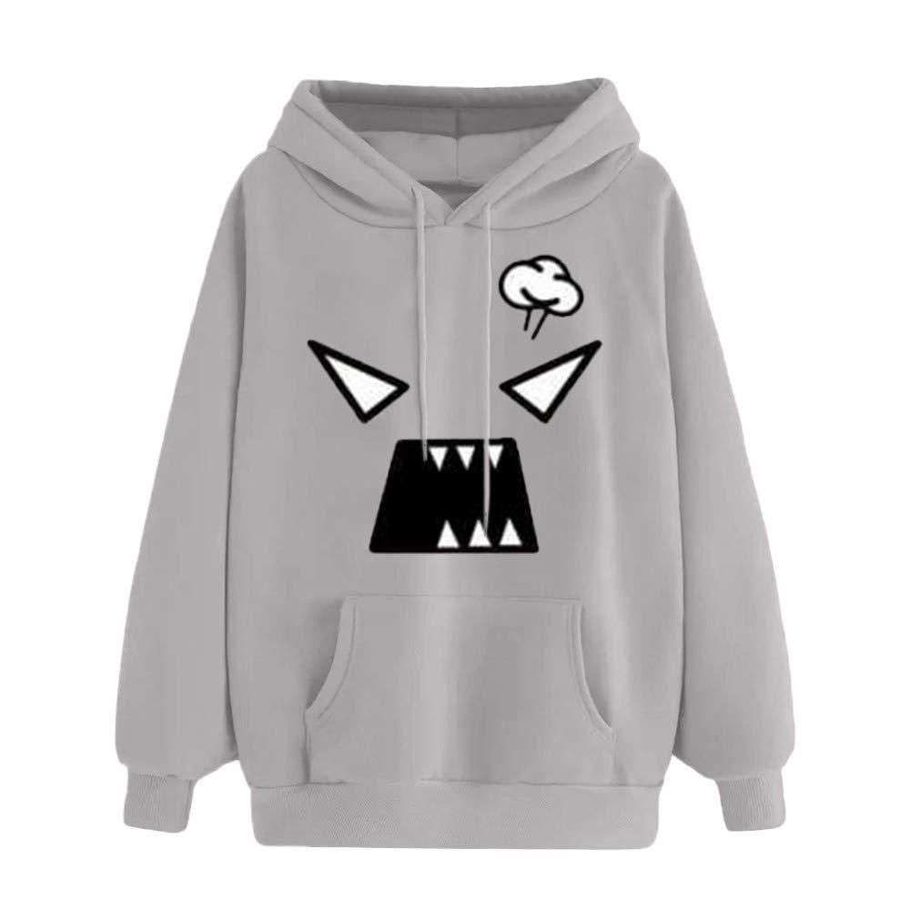 SMALLE ◕‿◕ Clearance,Women Autumn Emoticon Print Pocket Hooded Long Sleeve Sweatshirt Tops Blouse