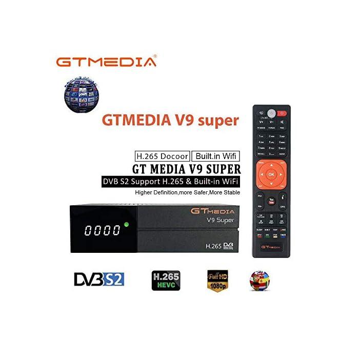 """518BN4LdivL Haz clic aquí para comprobar si este producto es compatible con tu modelo 【Wi-Fi incorporado】 """"GTMEDIA V9 Super DVB S2 Decodificador satelital"""" tiene un Wi-Fi incorporado, por lo que no es necesario comprar un Wi-Fi externo. Soporte completo PowerVu, DRE y Biss clave, Soporte Unicable, Soporte XML EPG y Satellite EPG. Receptor HD PVR con WiFi Incorporado. admite de red Sharing y protocolo de Twin. disfruta de tus películas con Network Sharing. apoyo Predicción meteorológica, Google Map, jamendo, Yahoo News, imagen etc. Support, cámara IP, DLNA, SAT to IP."""