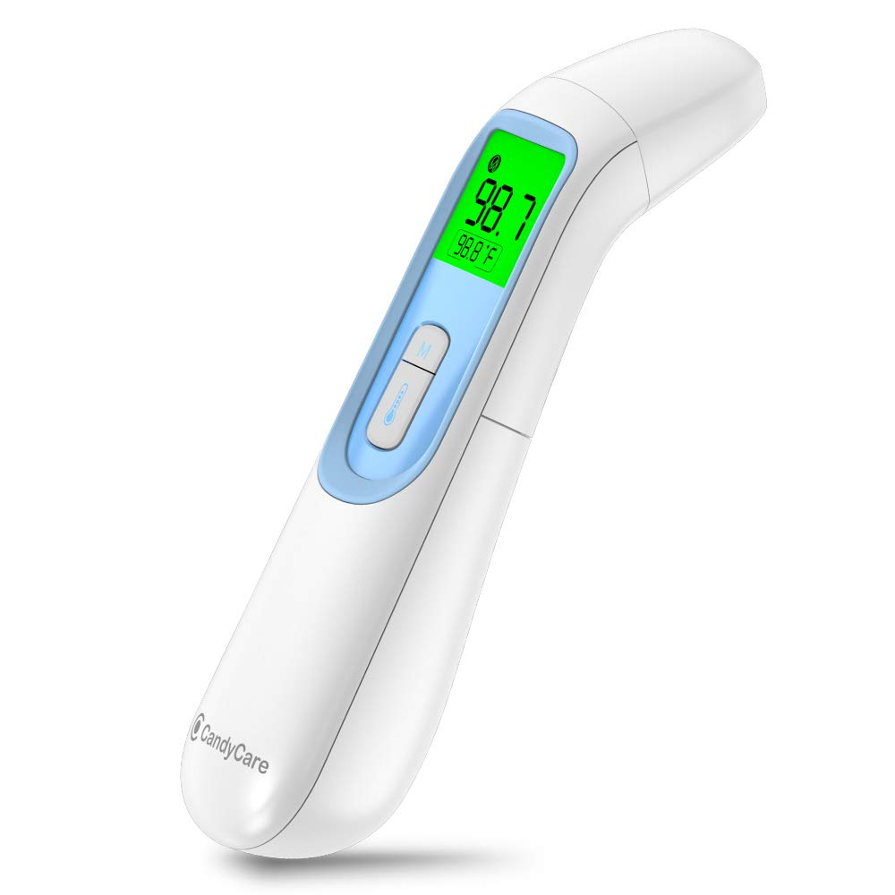 CandyCare Smart Infrared Thermometer with LCD Digital Screen (3-in-1 Measurement) Ideal for Adult and Kid, Non-Contact Temperature Gun Reading Detection on Forehead and Ear (Battery NOT Included)
