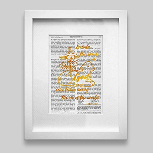 Bible Verse Wall Art Christian Gift -Behold the Lamb of God Who Takes The Sins Of The World- Gold Foil Decor Inspirational Quote 5.25 inches x 7.75 inches