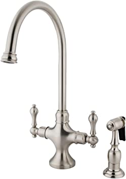 Amazon Com Nuvo Elements Of Design Es1768albs Vintage 2 Handle Kitchen Faucet With Brass Sprayer 7 7 8 Satin Nickel Home Kitchen