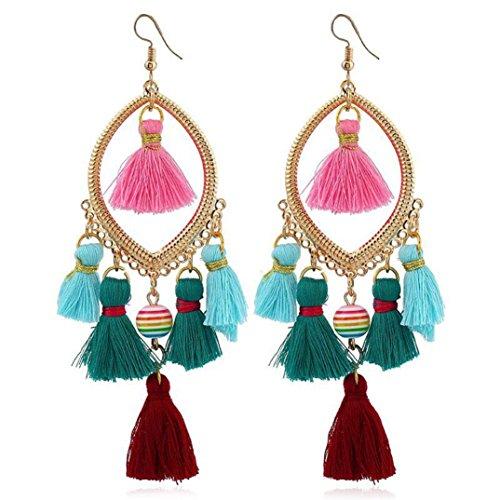 Vintage Earrings, Paymenow Women Boho Hook Dangle Rhinestones Crystal Tassel Pearl Chains Drop Earrings Fashion Jewelry (B)