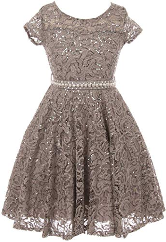 Big Girls' Short Sleeve Lace Glitter Skater Pearl Belt Special Occasion Flower Girl Dress Charcoal 12 (J21KS02) ()