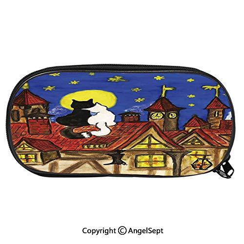 Unisex Student Pencil Case Pen BoxTwo Love Cats Sitting on Roof in Old Town and Looking at Starry Sky Night Funk Artprint Stationery Bag Cartoon Pouch Bags with Double Zippered for Girls BoyMulti