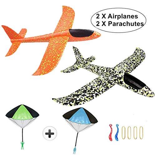 KINGSOO Glider Airplane for Kids, 2 Pack 15 inch Glider Planes with 2 Parachutes Foam Flying Airplane Kit (Slingshot)