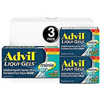 Advil Liqui-Gels minis (160 Count, 20 Count, 20 Count) Home & Away Pack, Pain Reliever/Fever Reducer Liquid Filled Capsule, 200mg Ibuprofen, Easy to Swallow, Temporary Pain Relief,1 Set