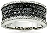 14k White Gold Black and White Diamond Ring (1 1/2cttw, I-J Color, I2-I3 Clarity), Size 7