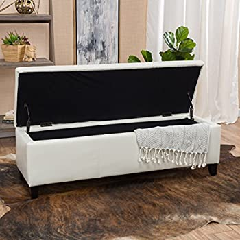 skyler off white leather storage ottoman bench - Living Room Bench