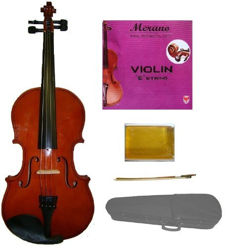 Merano MV10 1/4 Size Acoustic Student Violin with Hard Case and Bow+Free Rosin+Extra E String ~ Natural by Merano