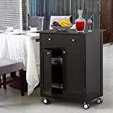Yaheetech Rolling Wood Kitchen Trolley Kitchen Island Cart With Drawer Storage Cabinet