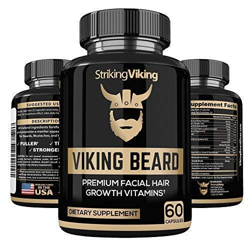 Beard Growth Supplements for Mens Hair - Natural DHT Blockers, Biotin and Vitamins Stop Thinning and Promote Thicker Healthier Hair Grow, 60 Capsules, Made in U.S.A.