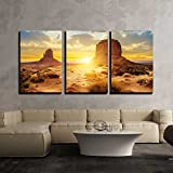 wall26 - 3 Piece Canvas Wall Art - Sunset at the Sisters in Monument Valley, Usa - Modern Home Decor Stretched and Framed Ready to Hang - 24''x36''x3 Panels
