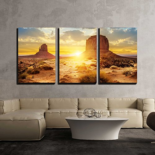 wall26 - 3 Piece Canvas Wall Art - Sunset at The Sisters in Monument Valley, USA - Modern Home Decor Stretched and Framed Ready to Hang - 16