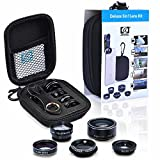 BPSMedia® 5 in 1 HD Mobile Phone Camera Lens Kit, 198° Fisheye Lens, 0.63X Wide Angle Lens, 15X Macro Lens, 2X Telephoto Lens, CPL Lens, Universal Clip On Cell Phone Lens for iPhone, Samsung & Most Smartphone