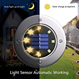 Biling Solar Disk Lights Outdoor, 8 LED Bulbs Solar Ground Lights Outdoor Waterproof for Garden Yard Patio Pathway Lawn Driveway - Warm White