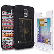 Galaxy S5 Case, TORU [S5 Wallet Case Pattern Tribal] Protective Slim Fit Dual Layer Hidden Credit Card Holder ID Slot Card Case with Mirror for Samsung Galaxy S5 / S5 Neo - Tribal Aztec