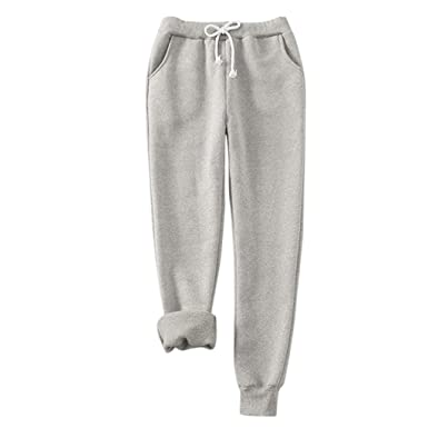 Gugavivid Pantalones cálidos Gruesos de Felpa para Mujer de Talla ...