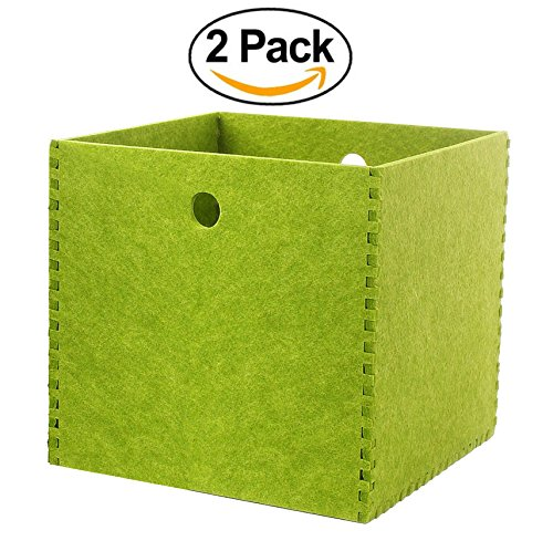 Felt Storage Box Baskets and Bins for Shelves, 12x12 Hard Polyester, Large Green, 2 Pack