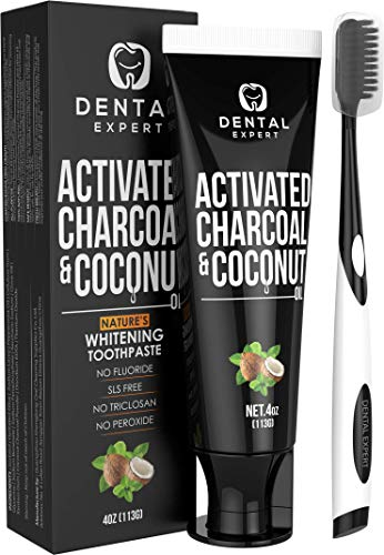 Activated Charcoal Teeth Whitening Toothpaste - DESTROYS BAD BREATH - Best Natural Black Tooth Paste Kit - MINT FLAVOR - Herbal Decay Treatment - REMOVES COFFEE STAINS - 105g (4 Oz) (Best Natural Toothpaste)