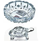 Supermall New Look Crystal Finish Wealth Sign Tortoise With Plate Statue Showpiece