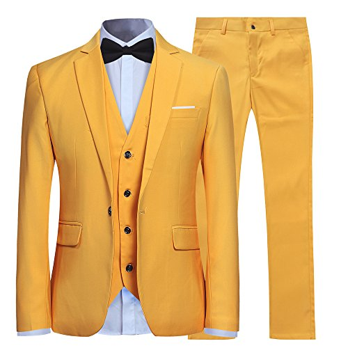 Men's Slim Fit 3 Piece Suit One Button Blazer Tux Vest & Trousers Yellow (Wedding Button)