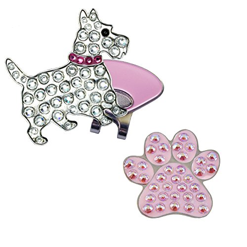 - Navika Scottie Dog (with Pink Collar) and Pink Paw Crystal Golf Ball Markers & ONE Magnetic Clip Set Made with Swarovski Crystal Elements By