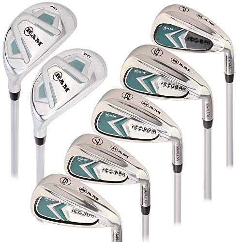 (Ram Golf Accubar Ladies Right Hand Clubs All Graphite Iron Set 6-7-8-9-PW with Hybrids 24° and 27°)