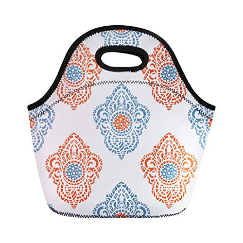 Semtomn Neoprene Lunch Tote Bag Blue Ornamental Ethnic Patterned Indian Turkish Paisley Magic Symbol Reusable Cooler Bags Insulated Thermal Picnic Handbag for Travel,School,Outdoors,Work ()