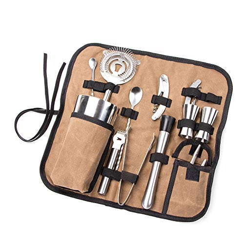 Bartender Kit Roll Bag, Heavy Duty Waxed Canvas Cocktail Tool Set, Portable Bar Case Bag for Home, Travel and Workplace Cocktail Making GJB533 (Bar Travel Tools)