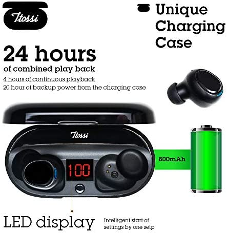 TTOSSI Waterproof True Wireless Earbuds Bluetooth 5.0 with LED Display Charging Case TWS in-Ear Headphones Noise Cancelling Bluetooth Headset Built-in Mic