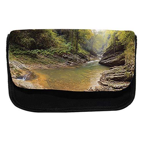 Lunarable Guam Pencil Case, Gorge Lake Rocks and Trees, Fabric Pen Pencil Bag with Double Zipper, 8.5
