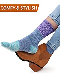 4Pairs Patterned Warm Cotton Socks for Women Casual Womens Socks Crew