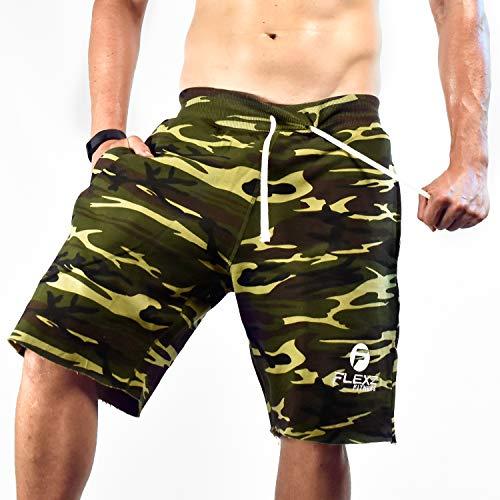 Flexz Fitness Men's Gym Shorts SweatShorts, Bodybuilding and Exercise, Durable & Stylish, Camo, Size X-Large