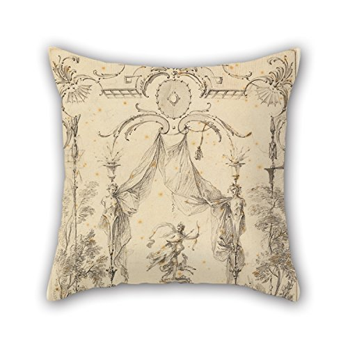 MaSoyy Oil Painting Gabriel Huquier - Design For Wall Panel On Theme Of Diana Pillow Shams 16 X 16 Inches / 40 By 40 Cm Gift Or Decor For Boy Friend Teens Dining Room Bedding Valentine - Twin Sides