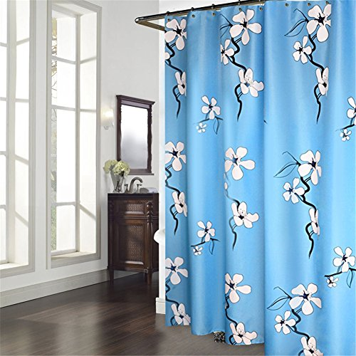 Hampton Bed Inn (Luxiu Home Waterproof Polyester Fabric Blue Shower Curtain 70 x 70 inch approx)