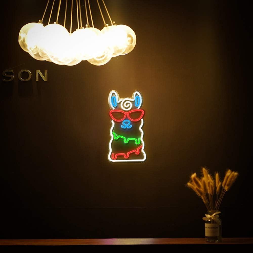 Alpaka Neonlicht LED Neonzeichen Weihnachten Wandleuchten für Schlafzimmer Dekoration Lounge Büro Hochzeit Bar Valentinstag Party Betrieben von USB (15,7 \'\' × 8,7 \'\') Alpaka Nachtlichter Alpaka Leuchtreklame