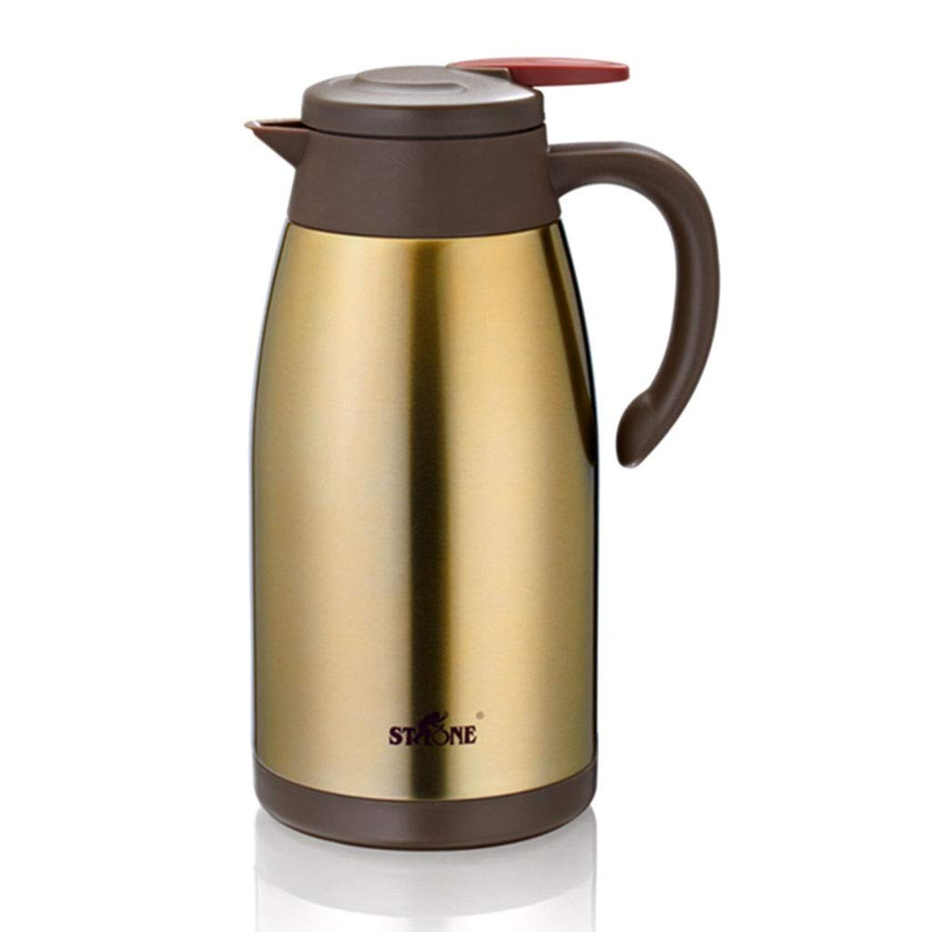 Thermos bottle Coffee Carafe,2 Liter Vacuum Insulated Coffee Pot Double Stainless Steel Hot Water Pot,Satin Finish,insulated Carafe,portable Bottle Warmer,Features Ergonomic Handle,hot Beverage Dispen