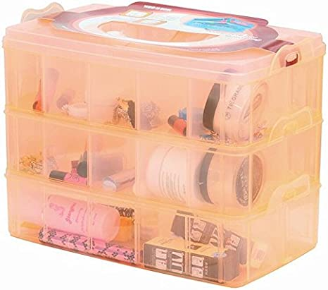 DJUNXYAN 3-Tier 18 Sections Transparent Stackable Adjustable Compartment Slot Plastic Craft Storage Box Organizer for Toy Desktop Jewelry Accessory Drawer Or Kitchen 4 Colors 3 Sizes Medium Blue