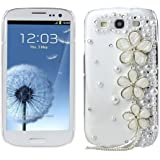 OOOUSE 3d Handmade Crystal Pearl Flower Design Diamond Rhinestone Clear Case Cover for Samsung Galaxy S3 I9300