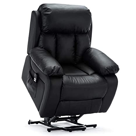 Pleasing More4Homes Chester Dual Motor Electric Riser Recliner Armchair Mobility Bonded Leather Massage Heated Chair Black Creativecarmelina Interior Chair Design Creativecarmelinacom