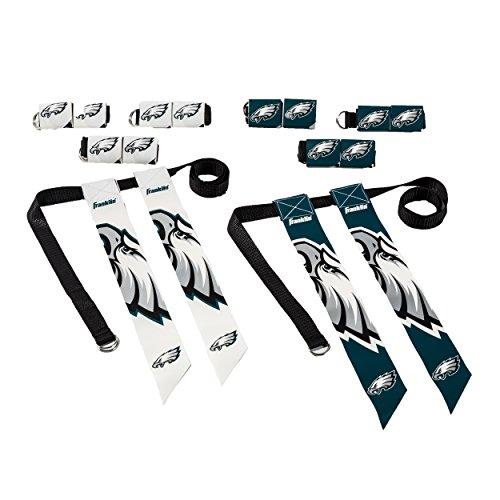 Franklin Sports Philadelphia Eagles Flag Football Set - 8 Flag Belts - 8 Player - Self Stick Tear-Away Flags - NFL Official Licensed ()